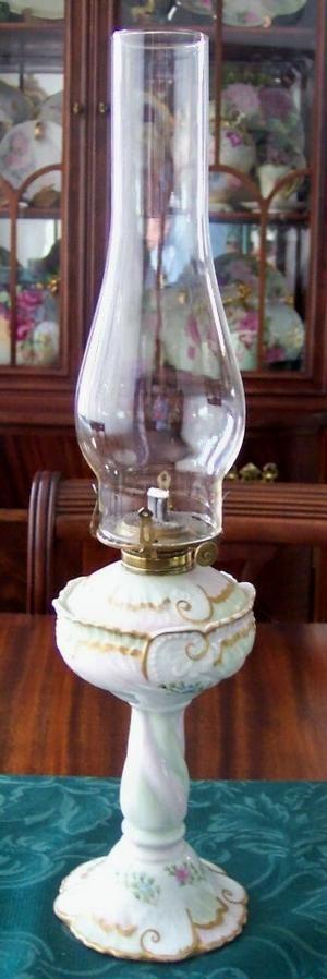 1890's Floral Limoges Oil Lamp