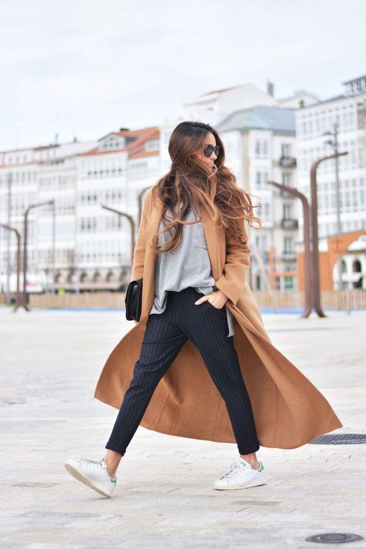 camel coat + striped pants