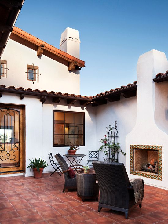 ♔ Outdoor space: Stunning Mediterranean Patio Design Grey Armchairs Hilltop Hacienda ~ wbtourism.com Villa Inspiration (SMALL CTYD; EXCEPT W/FIRE TABLE)