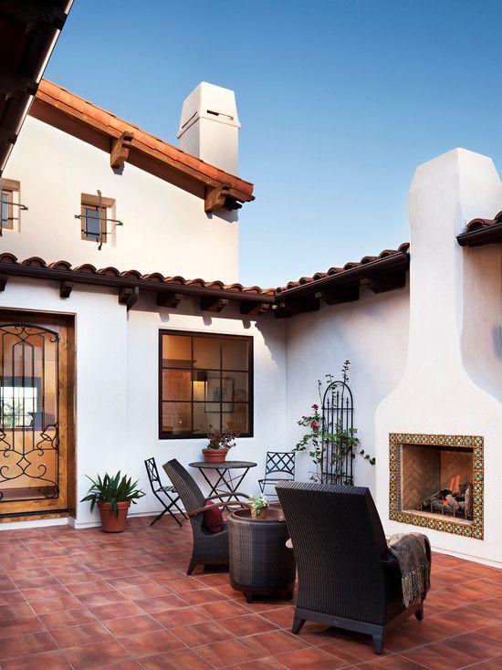 ♔ Outdoor space: Stunning Mediterranean Patio Design Grey Armchairs Hilltop Hacienda ~ wbtourism.com Villa Inspiration (SMALL CTYD; EXCEPT W/FIRE TABLE)