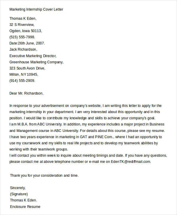 cover letters for internship free word pdf documents download - Ejemplo De Cover Letter