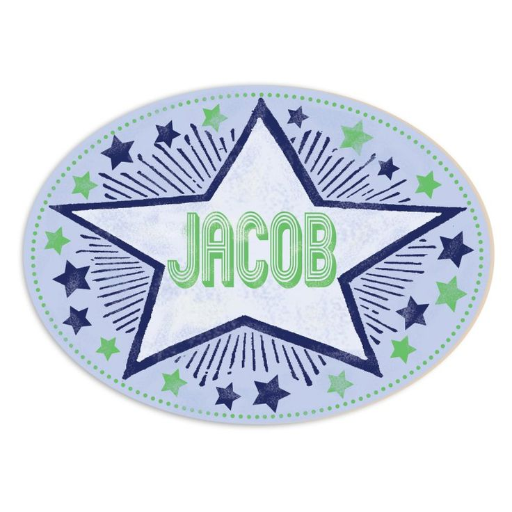 Stupell Decor Personalized Blue and Green Stars and Stripes Wall Plaque Art - PNP-1029_WD_OVAL
