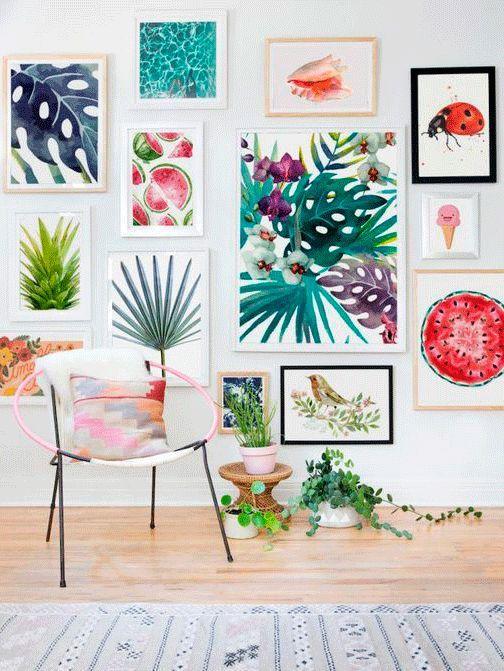 10 ideas para vestir tu salón de primavera #salón #comedor #primavera #verano #tejidos #colores #hojas #cuadros #láminas #flores www.hogardiez.com
