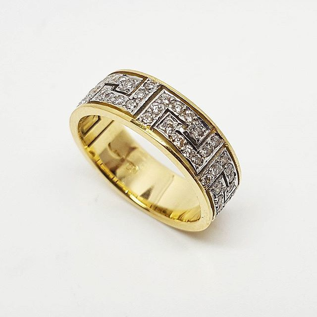 Custom made wedding ring, 18ct  gold, set with 48 diamonds in the pattern. Absolutely stunning, the customer was thrilled! It's always an honour to work on a custom made piece, to bring a unique, one-off piece to life!