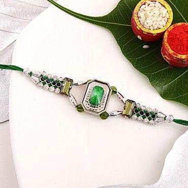 Green Gemstone Kundan Rakhi rakhi online shopping