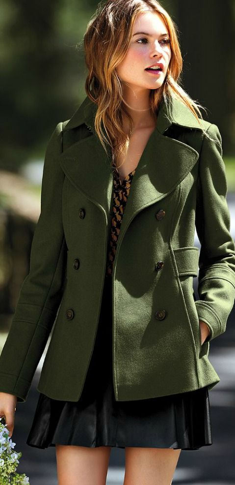 I have the red version of this! I think i'd rather have the olive green.:pea coat