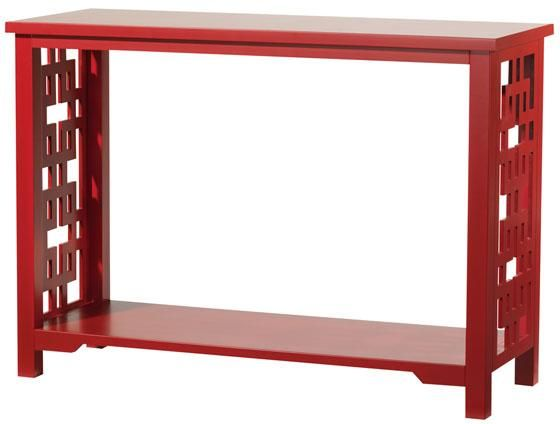 Red Console Table With Asian Inspired Cutout Design On Sides