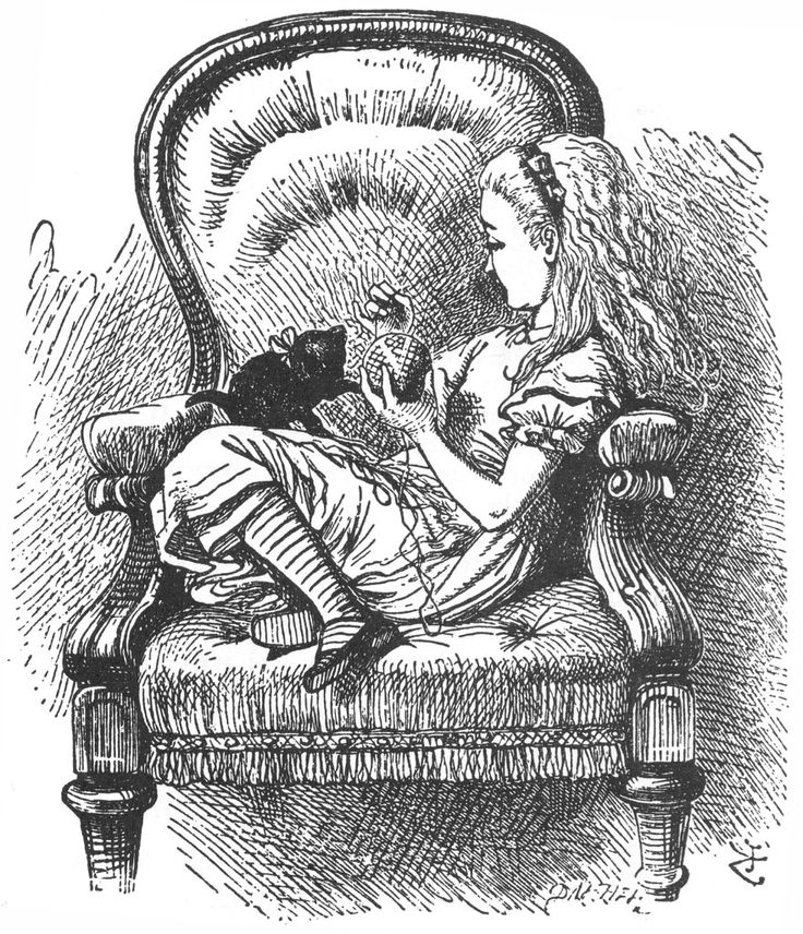 """Alice playing with kitten from Lewis Carroll's """"Through the Looking Glass."""" Illustration by artist John Tenniel."""