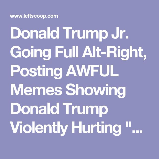 """Donald Trump Jr. Going Full Alt-Right, Posting AWFUL Memes Showing Donald Trump Violently Hurting """"CNN"""""""