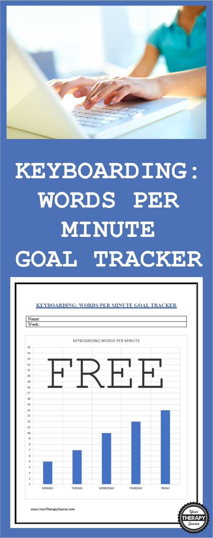 Keyboarding Words Per Minute Goal Tracker - Your Therapy Source