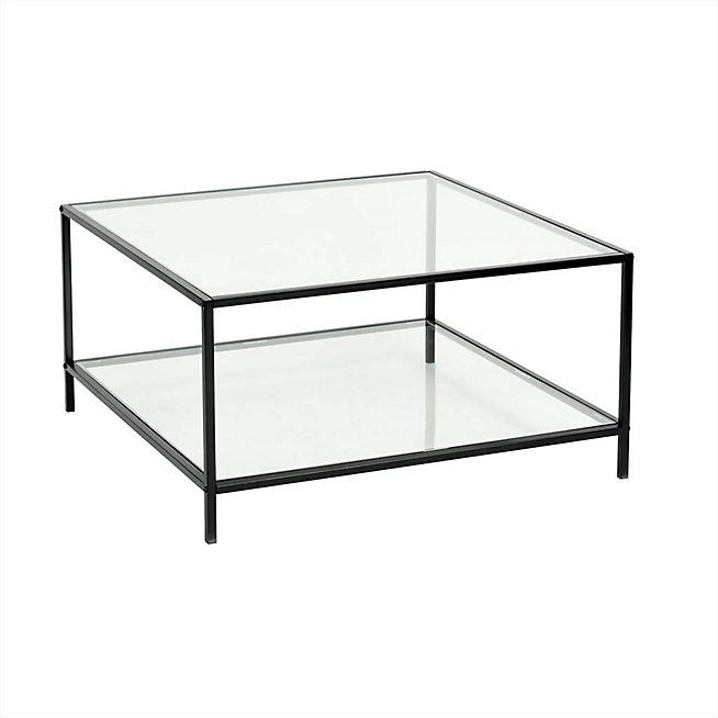Loka Table Basse Carree En Metal Noir Et Verre H42cm Table Basse Verre Table De Salon Table Basse