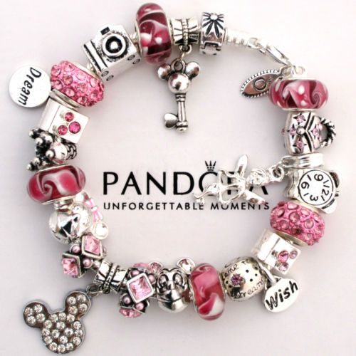 Authentic Pandora Bracelet Pink Love Mickey Mouse Wish Crystal Murano Charm Bead Stuff Pinterest Jewelry And Bracelets