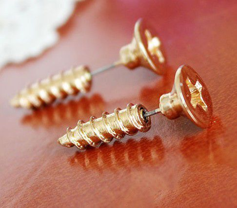 Punk Style Screw earring so very cool I love all these. The illusion of them is what makes them so cool. love all the ones on the Brass Pole Motorcycle website as well.