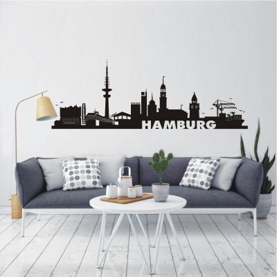 deko-shop-24.de-Wandtattoo-Skyline Hamburg