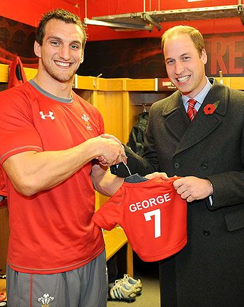 Prince George, the son of Prince William and Kate Middleton, has been given an honorary Wales rugby jersey from captain Sam Warburton. Warburton presented the jersey -- lucky number 7 -- to George's proud father, the Duke of Cambridge, in the locker room at the Wales vs. South Africa Rugby Union Autumn International on Nov. 9, 2013. William has been the vice royal patron of the Welsh Rugby Union since February 2007.