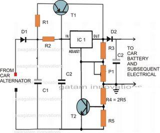 Este é um circuito estabilizador de tensão para ser usados em alternadores veiculares. Um LM317 pode suportar até 1,5 A, e o LM338 não pode deter mais de 5 ampères, mas para um circuito com valores enormes como a fornecida pelo alternador de automóveis é minuscula.