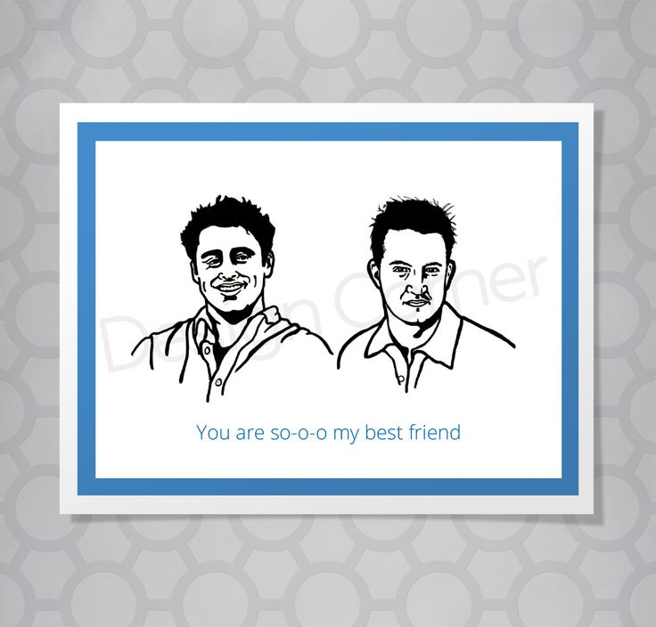 Funny Illustrated Joey and Chandler Friends All Occasion Card by designcorner on Etsy