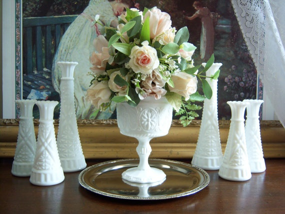 Reserved for camille romantic and beautiful seven piece white milk glass collection wedding table