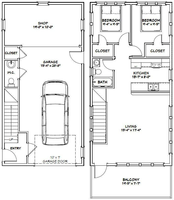 20x40 House 2 Bedroom 1 5 Bath 859 Sq Ft Pdf Floor Plan Model 7r 29 99 20x40 House Plans Building A Container Home Garage Apartment Plans