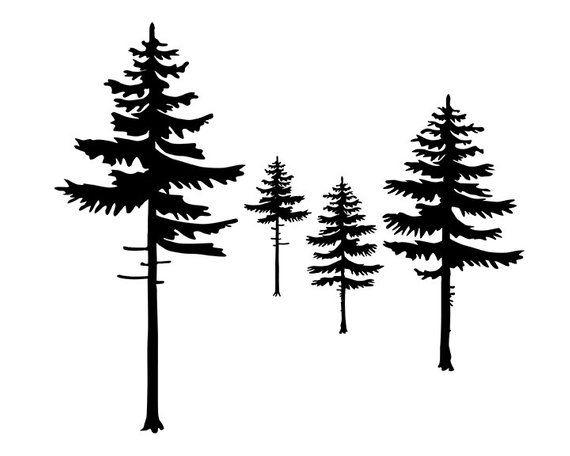 Black White Pine Trees Modern Minimalist Tree Print Cabin Decor Nature Printable Art Lake House White Pine Tree Pine Tree Silhouette Pine Tree Drawing
