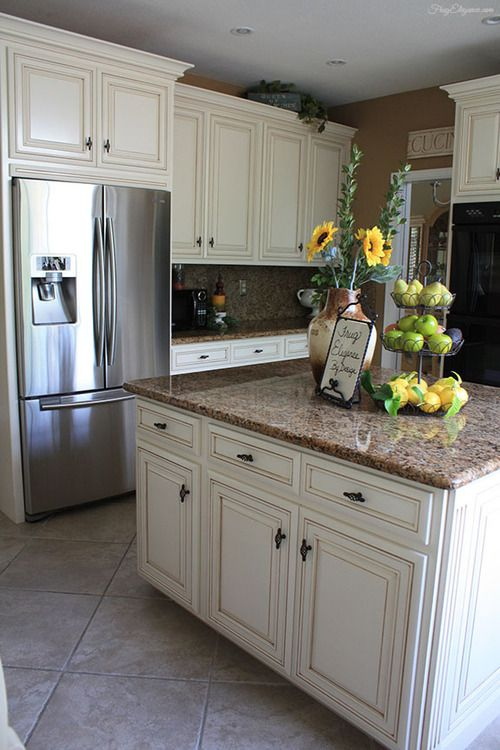 beautiful Cream And Brown Kitchen Cabinets #9: Kitchen Remodel u0026 Makeover. Cream CabinetsWhite ...