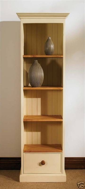 Details About Devon Painted Pine Furniture Slim Jim Narrow Bookcase Living Room