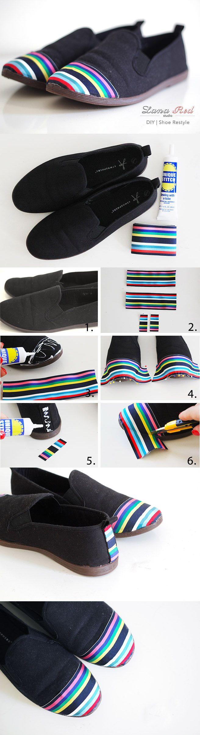 Zapatillas rediseñadas con cinta de color     (genial para mí que siempre quedan las zapatillas intactas menos por el sitio del dedo gordo)