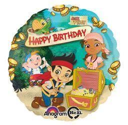 Jake Neverland Pirates Happy Birthday-Non-Pkg foil balloon (5ct)