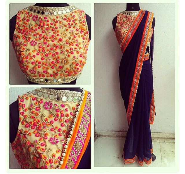 The heavy embroidery blouse with a plain border saree.