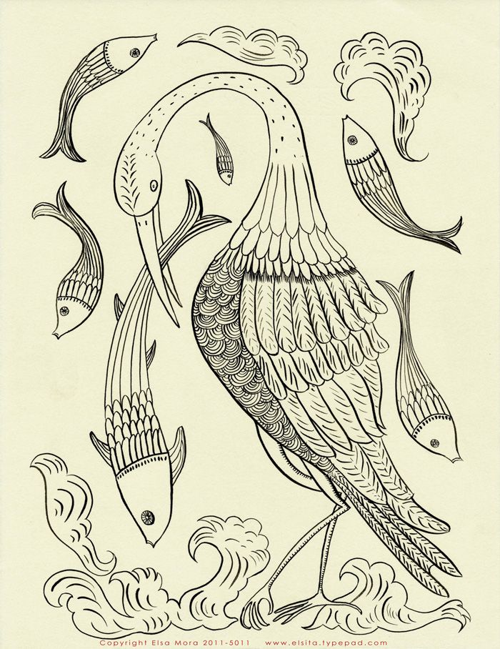 Embroidery Pattern Free, Elsa Mora, Ink Drawing, Free Birds, Fish Embroidery, Hands Embroidery, Living Room, Embroidery Patterns Free, Free Embroidery