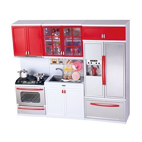 QUN FENG Kitchen Stove Sink Refrigerator Battery Operated Toy Doll Kitchen Playset w/ Lights, Sounds, Perfect for Use with Tall Dolls * For more information, visit image link.