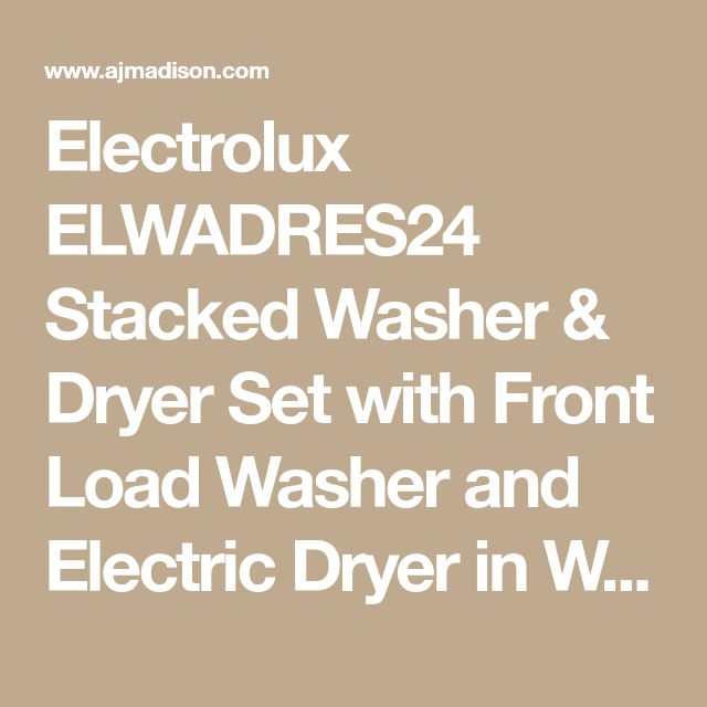 Electrolux ELWADRES24 Stacked Washer & Dryer Set with Front Load Washer and Electric Dryer in White