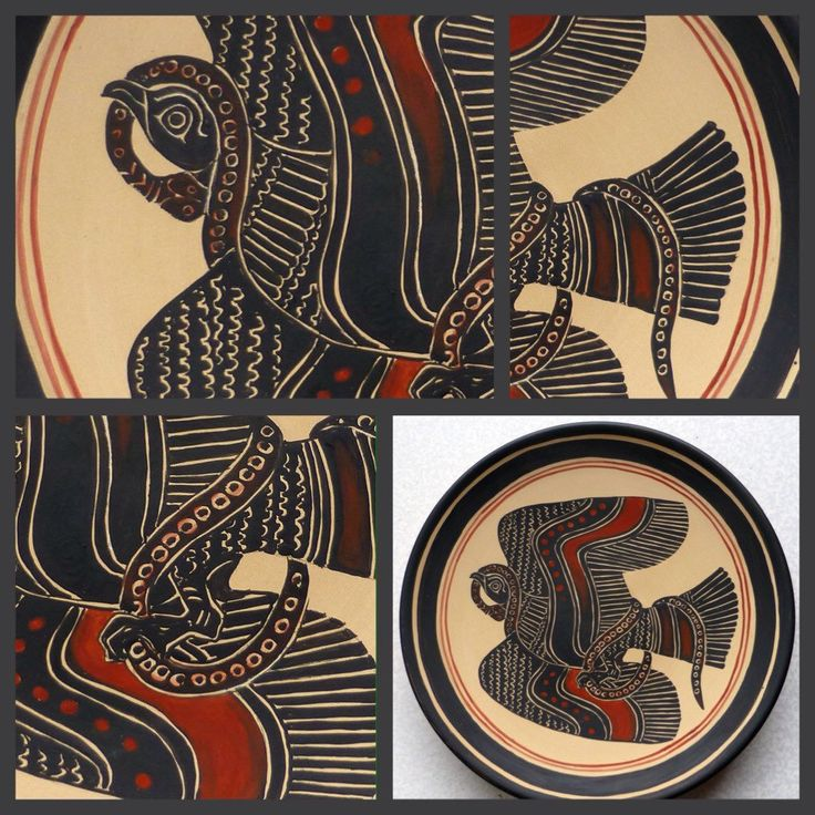 The Eagle killing the Snake, strong image in black figures, a copy from ancient cup