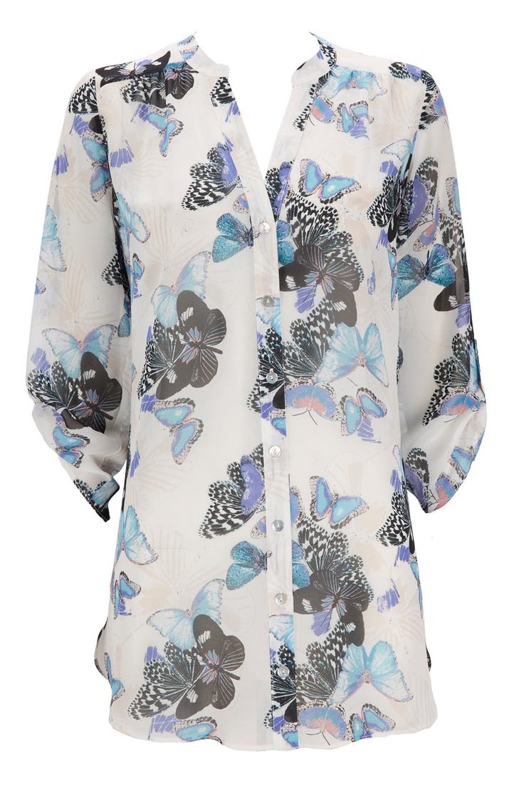 Wallis - blue buttefrly print shirt Feb13