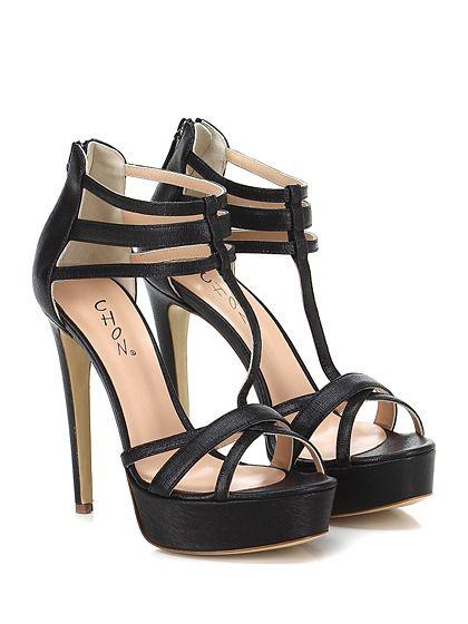 CHON - Sandalo alto - Donna - Sandalo alto in pelle saffiano con zip su retro e suola in cuoio. Tacco 130, platform 40 con battuta 90. - NERO - € 248.00
