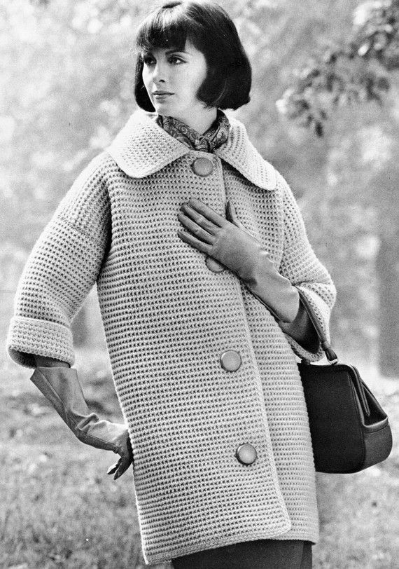 The bold chic of this crocheted coat will weather any occasion. Finished sizes: 46, 50.  Gauge: 3 sc = 1.   THIS PATTERN IS A REPRODUCTION, DELIVERED ELECTRONICALLY. This pattern will be downloaded as a PDF file; you will need a program such as AdobeReader to access it (see adobe.com).  Thanks for your business, and keep coming back
