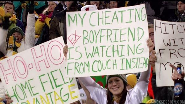 Great use for season tickets!  Packers fan uses seat at game to get back at cheating ex-boyfriend.Signs, Go Girls, Laugh, The Games, Cheat Boyfriends, Funny Stuff, Packers Fans, Green Bays Packers, Ex Boyfriends