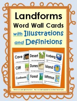 Landforms Word Wall Cards