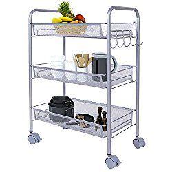 Lifewit 3-Tier Storage Cart Multifunction Rolling Cart Wire Rack Metal Mesh Shelf Trolley with Hooks