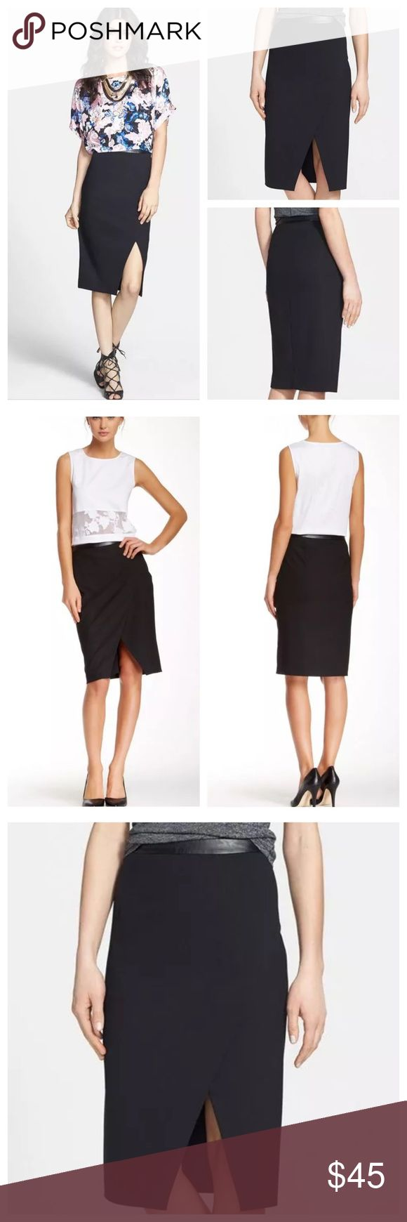 """1.State Faux Leather Wrap Black Knee Pencil Skirt Slick faux leather contours the waistline of this slim woven pencil skirt composed in an asymmetrical wrap-style silhouette. Super versatile piece work appropriate enough for  the board room and edgy enough to wear out for dinner and drinks.    •  24 1/2"""" length  •  Side zip closure.  •  Lined.  •  69% polyester, 29% viscose, 2% spandex.  •  Dry clean.  •  MSRP $90     By 1.STATE 1.State Skirts Pencil"""