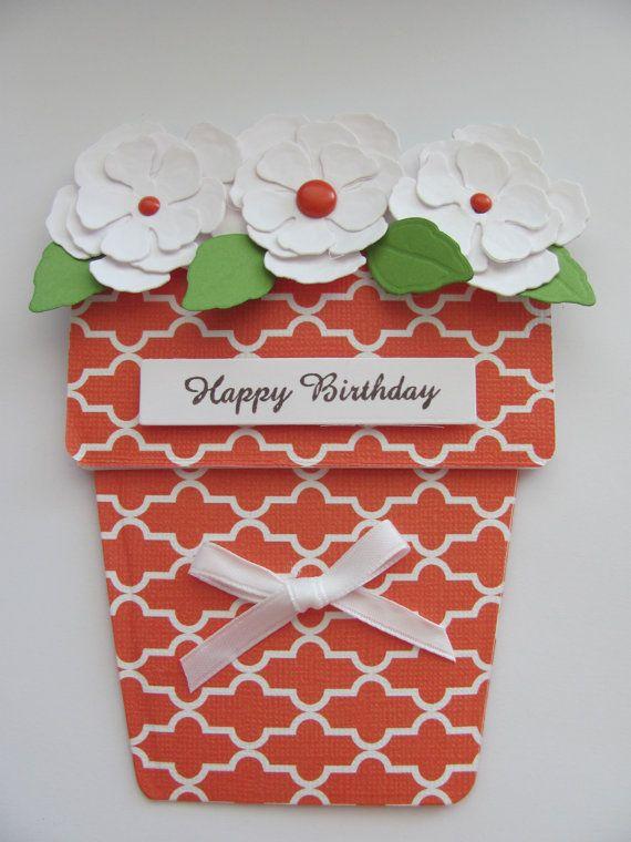happy birthday flower pot card blank inside  etsy  happy
