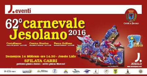 2016 Carnevale in Jesolo, Jan. 30, 2-6 p.m., float parade and entertainment for children in Cortellazzo, Piazza del Granatiere; Feb. 7, from 2:30 p.m. in Piazza I Maggio, entertainment and games for children; Feb. 9, children party from 2:30 p.m. at the Grifone Park, Piazza Milano; Feb. 14, traditional floats parade departs from Piazza Aurora at 2:30 p.m.; in case of inclement weather, the parade will be postponed to Feb. 28.