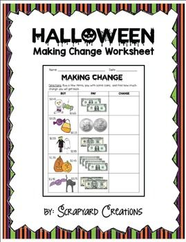 Halloween Making Change Worksheet by C Ernstes | TpT