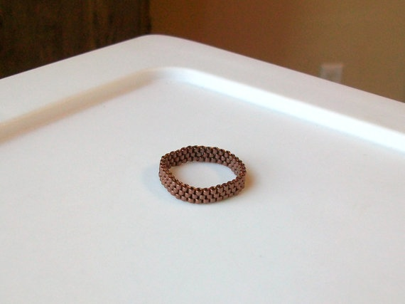 Galvanized Pale Copper Beaded Band Ring  Size 9 by mswolflady, $8.00