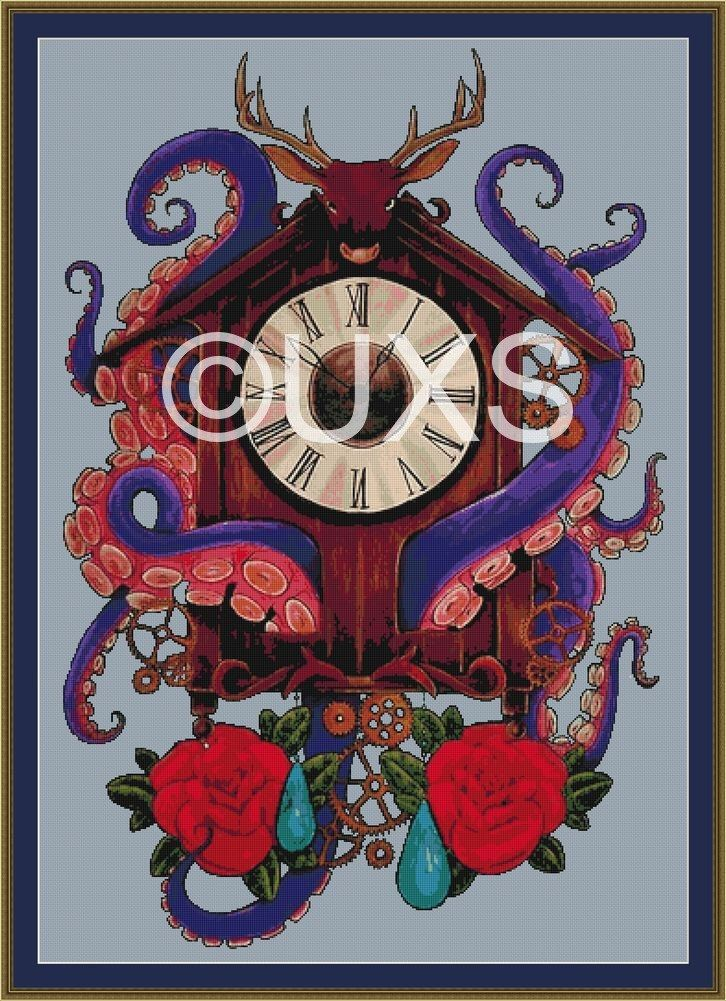 Octopus and Cuckoo Clock cross stitch pattern - Mother - modern counted cross stitch pattern by UnconventionalX on Etsy