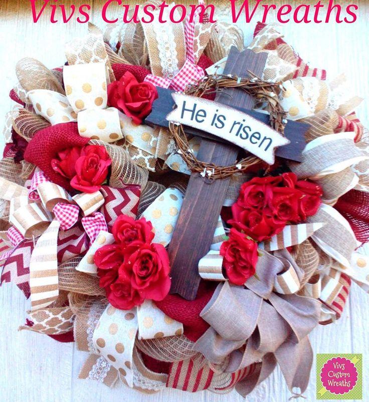 Spring+Burlap+Cross+Wreath,+He+is+Risen+Wreath,+Burlap+Spring+Wreath,+Cross+&+Roses,+Cross+Wreath,+Religious+Wreath,+Easter+Wreath+by+VivsCustomWreaths+on+Etsy