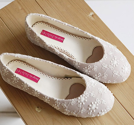 New Fashion Sweet Flower Lace Women's Flats Shoes Free Shipping