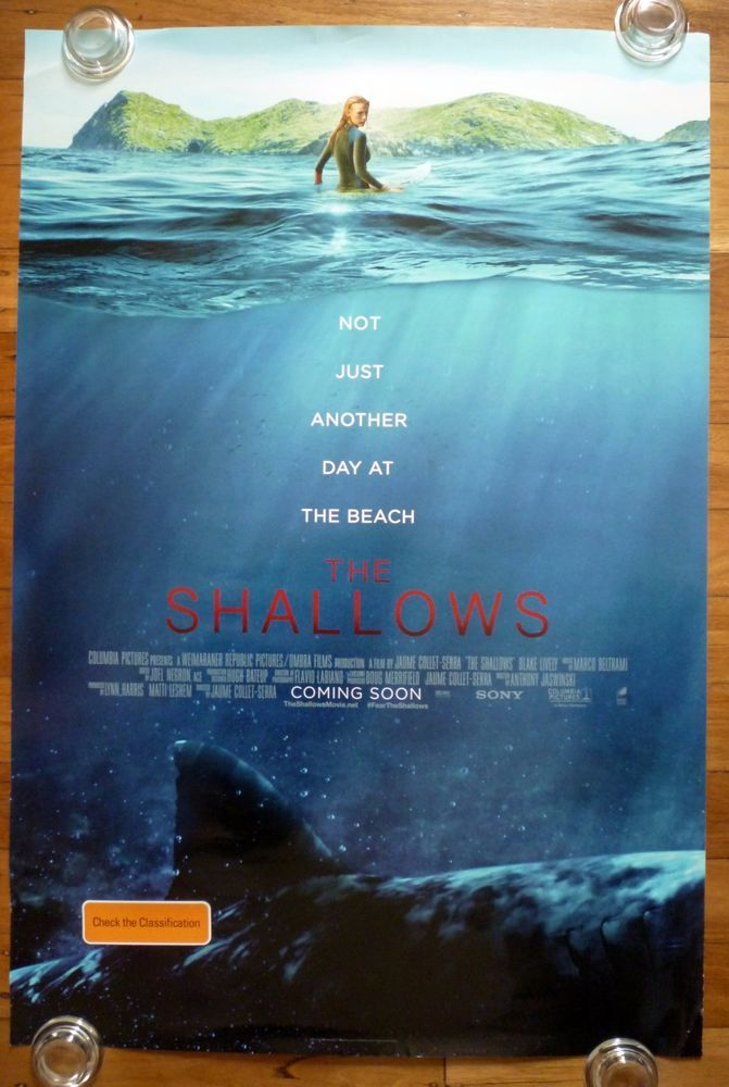 THE SHALLOWS Surfing Original 2016 Australian One Sheet Horror Movie Poster