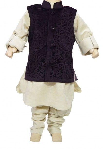 Off White Ethnic Kurta Pyjama with Velvet Wine Colored Jacket for Kids. #ethenic #ethenicwear #kurtapajama #kidswear #partywear #specialocationdress #kurtapajamaset #babyboydress #pinkblueindia