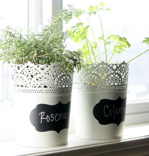 chalkboard labels for herb planters